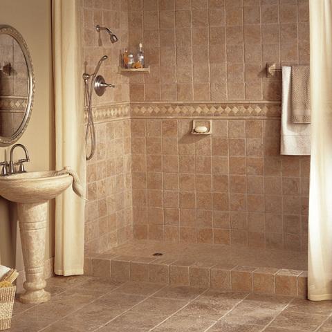 Плитка из натурального камня в ванной
