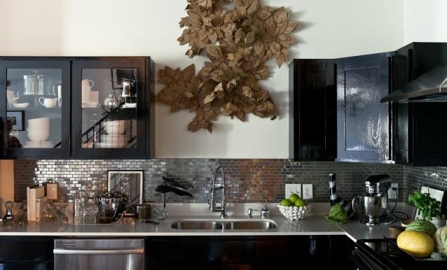Плитка под металл на кухне