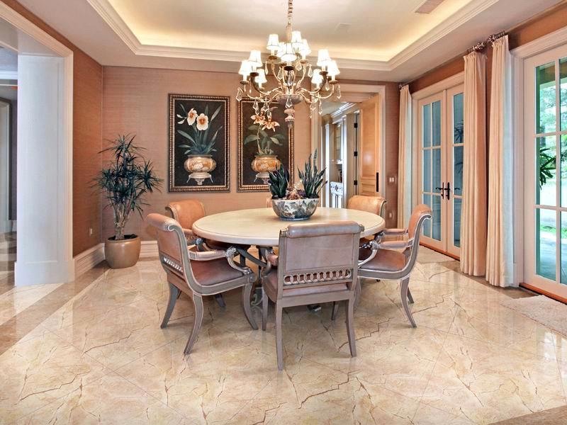 Фарфоровая плитка в гостиной