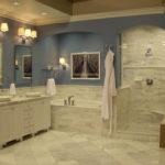 В ванной комнате: плитка из известняка