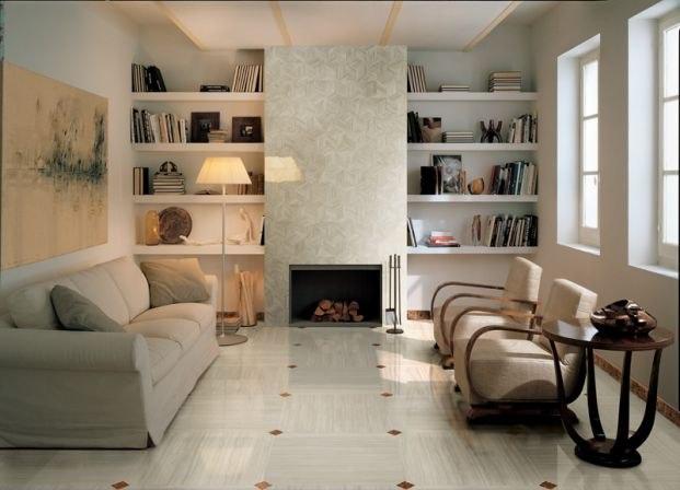 Керамическая плитка в гостиной