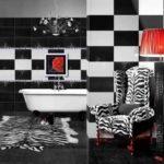 Ванная комната черно белая плитка