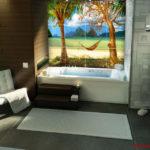 Плитка с рисунков лета в ванной