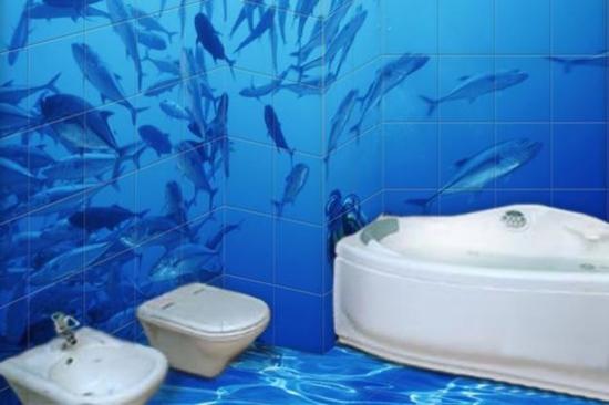 Глубокое море изображение на плитке в ванной