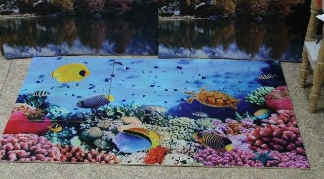 Рисунок цветов на напольной плитке