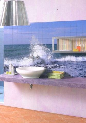 Плитки с рисунком в ванной комнате