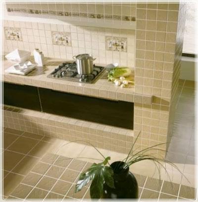 Образец базовой раскладки плитки на кухне