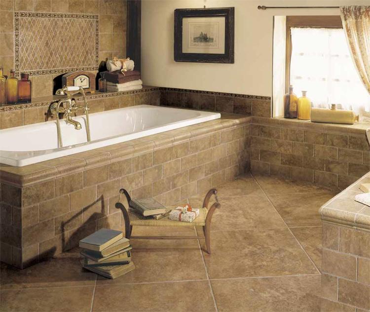 Плитка в ванной на пол