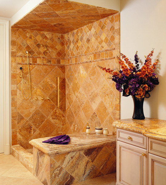 Natural stone bathroom tile