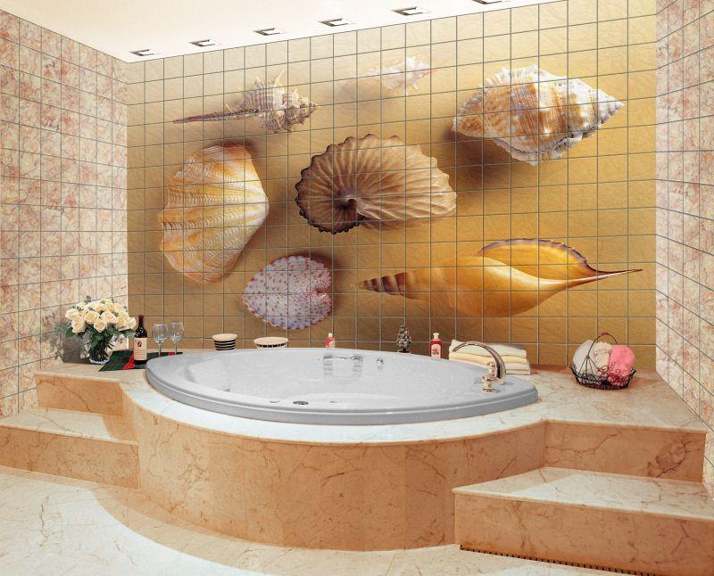 Дизайн плитки для ванной 3д