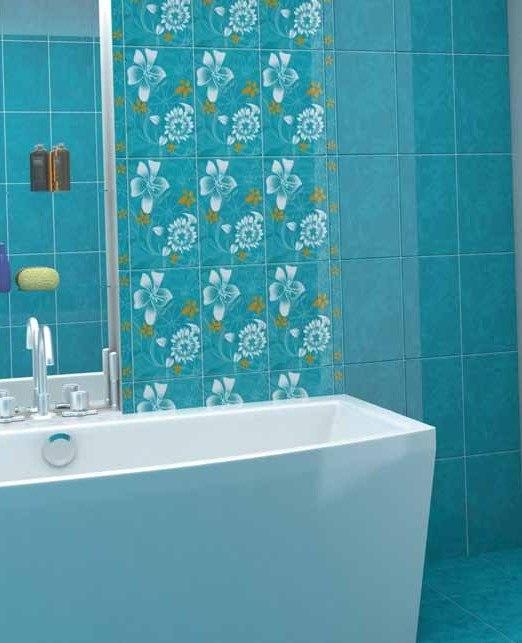 комната дизайн плитка синие тонна